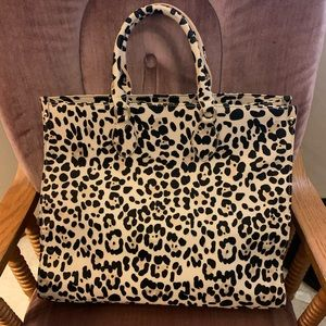 Marci Large Tote Bag in tan leopard